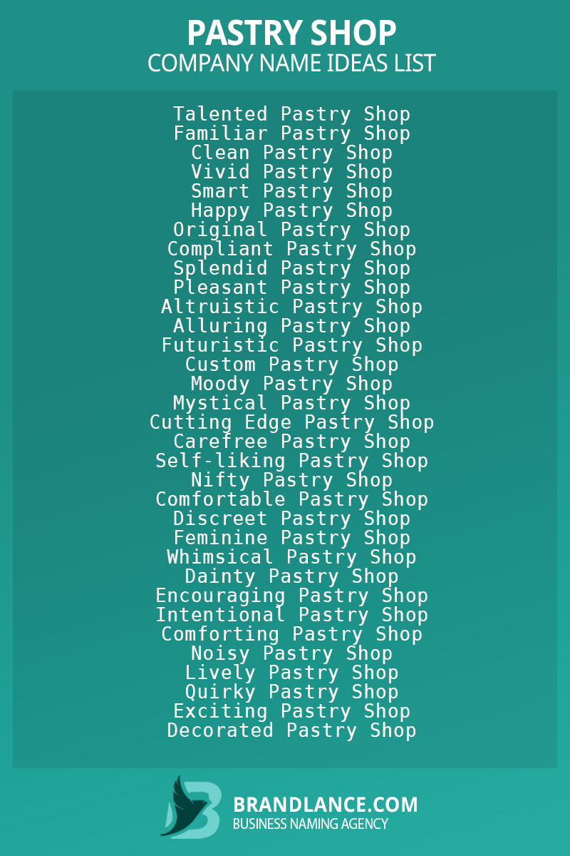 Pastry shop business naming suggestions from Brandlance naming experts