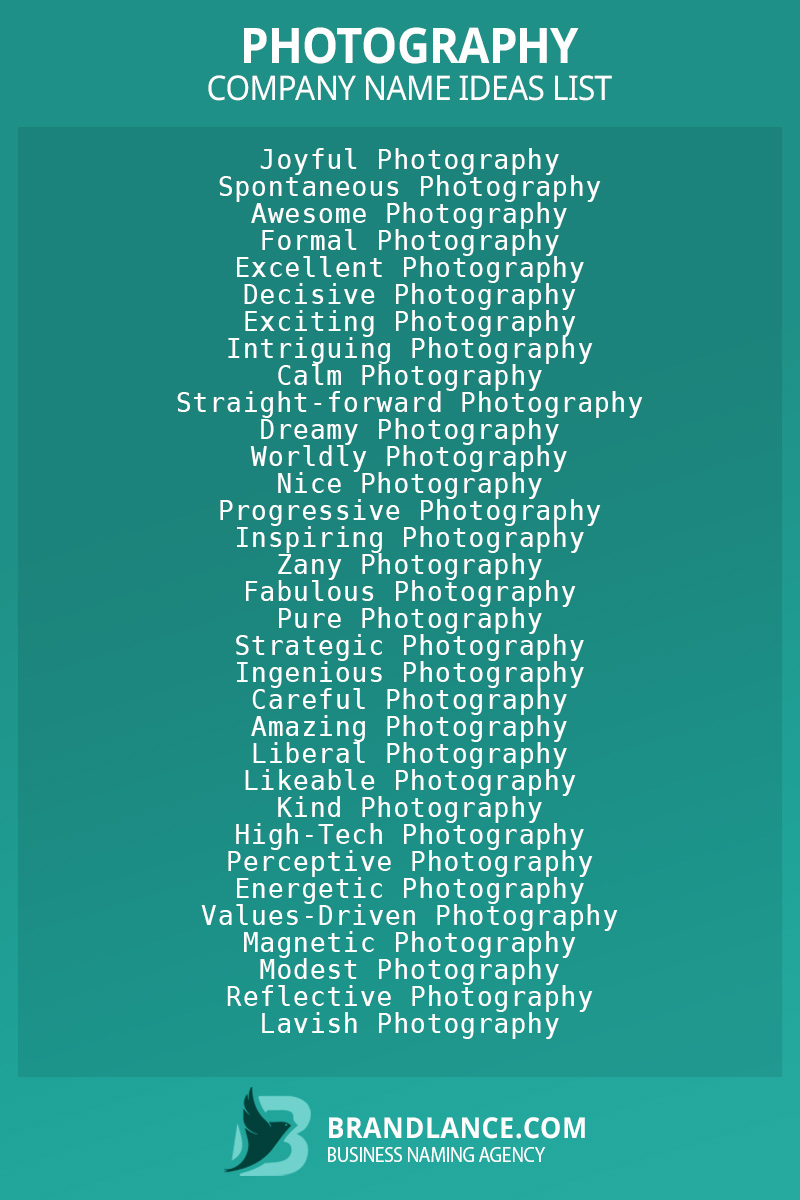 Photography business naming suggestions from Brandlance naming experts