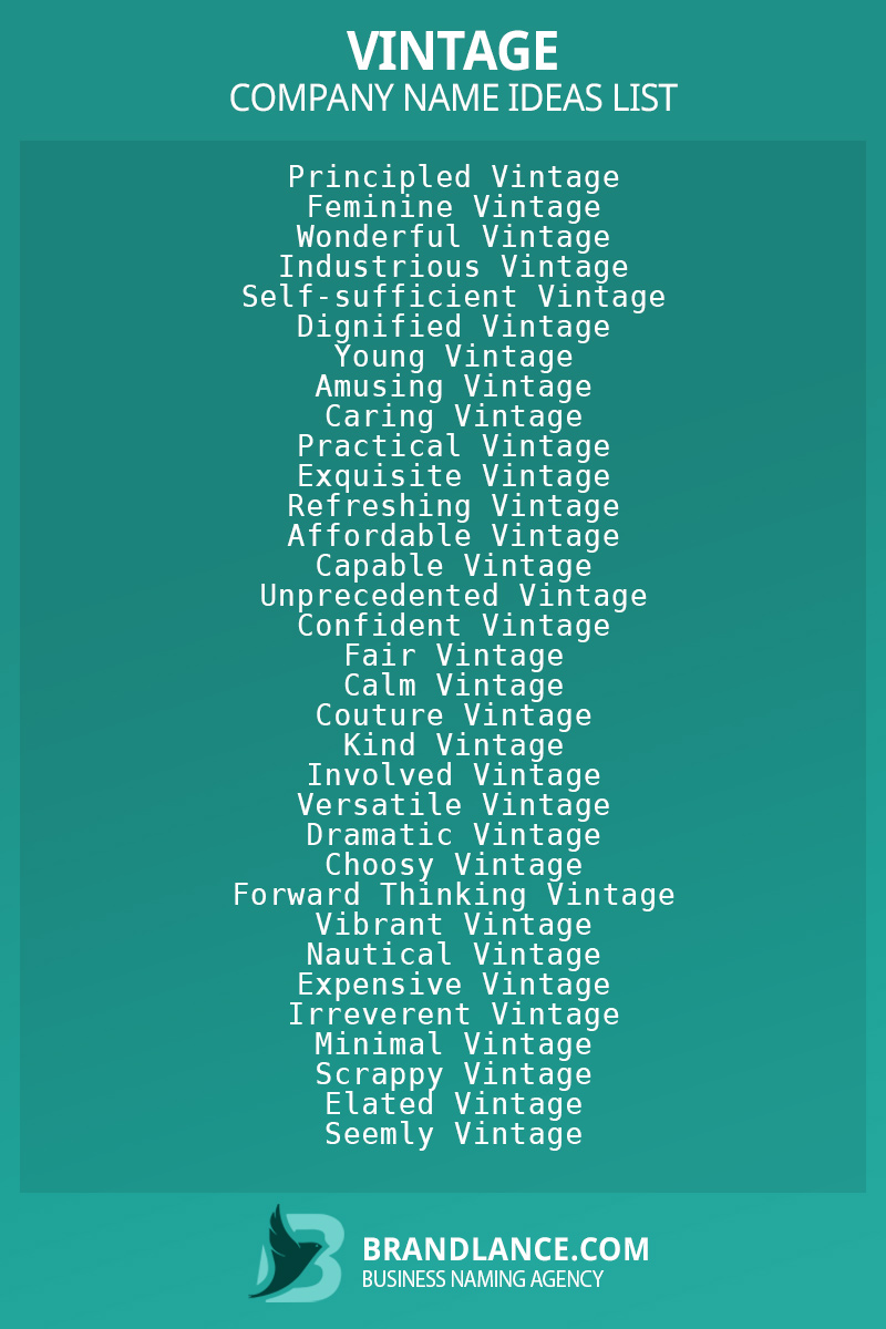 Vintage business naming suggestions from Brandlance naming experts