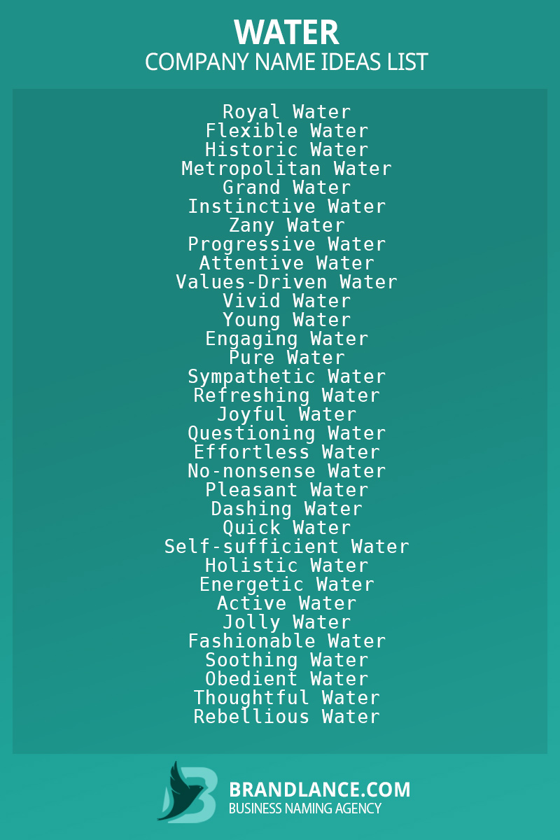 Water business naming suggestions from Brandlance naming experts