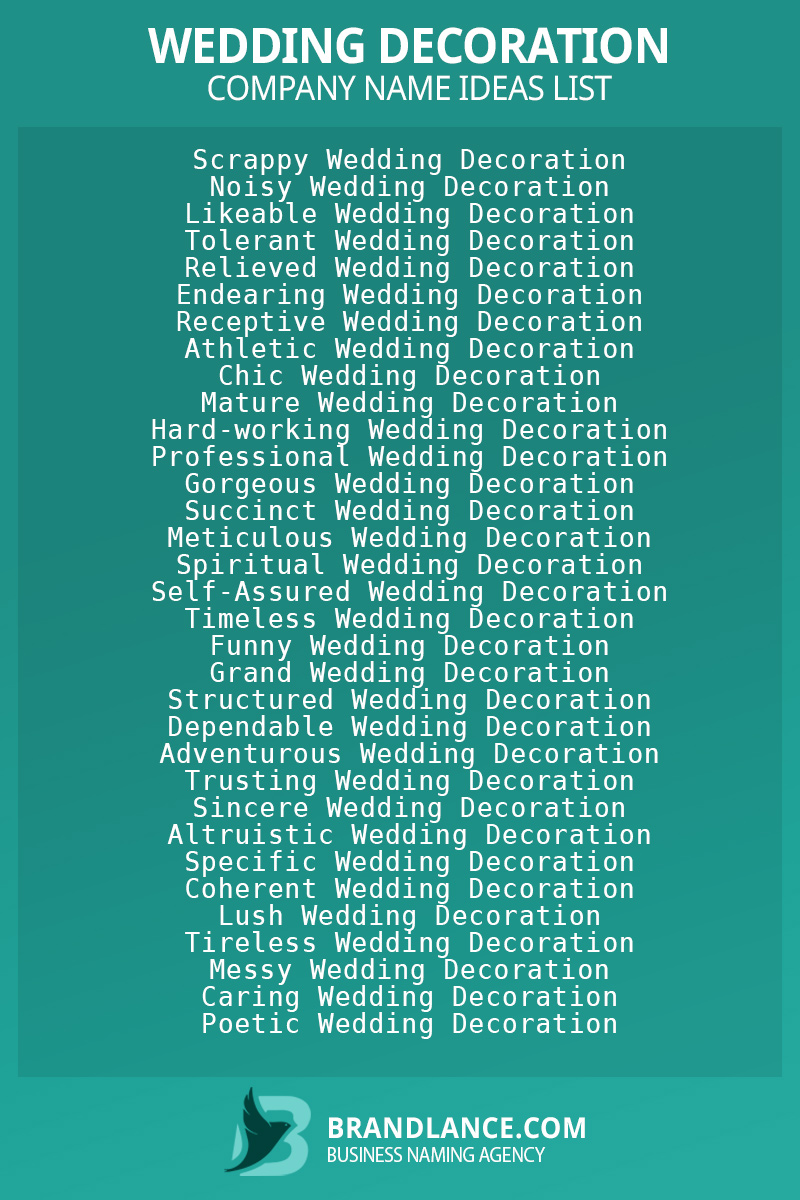 Wedding decoration business naming suggestions from Brandlance naming experts