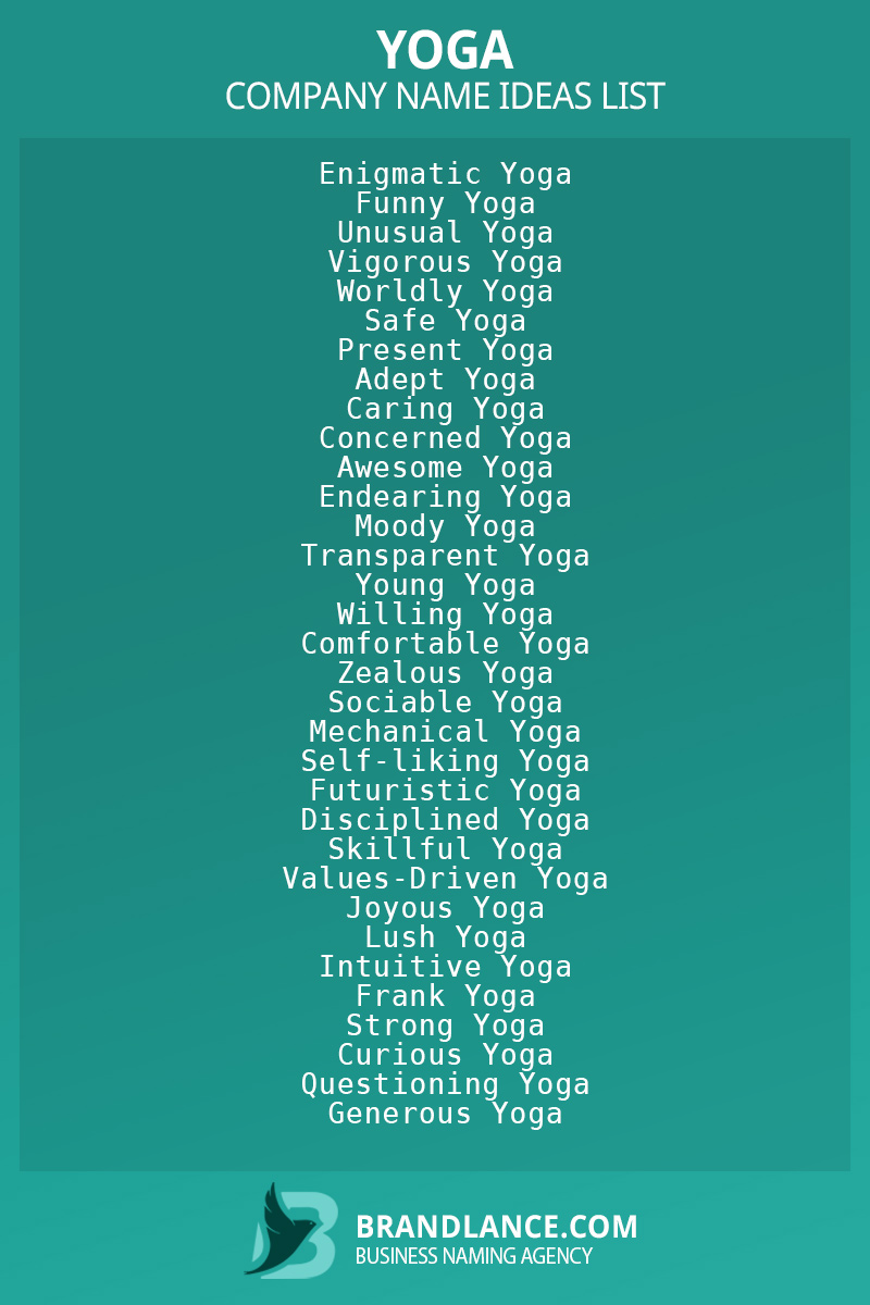Yoga business naming suggestions from Brandlance naming experts