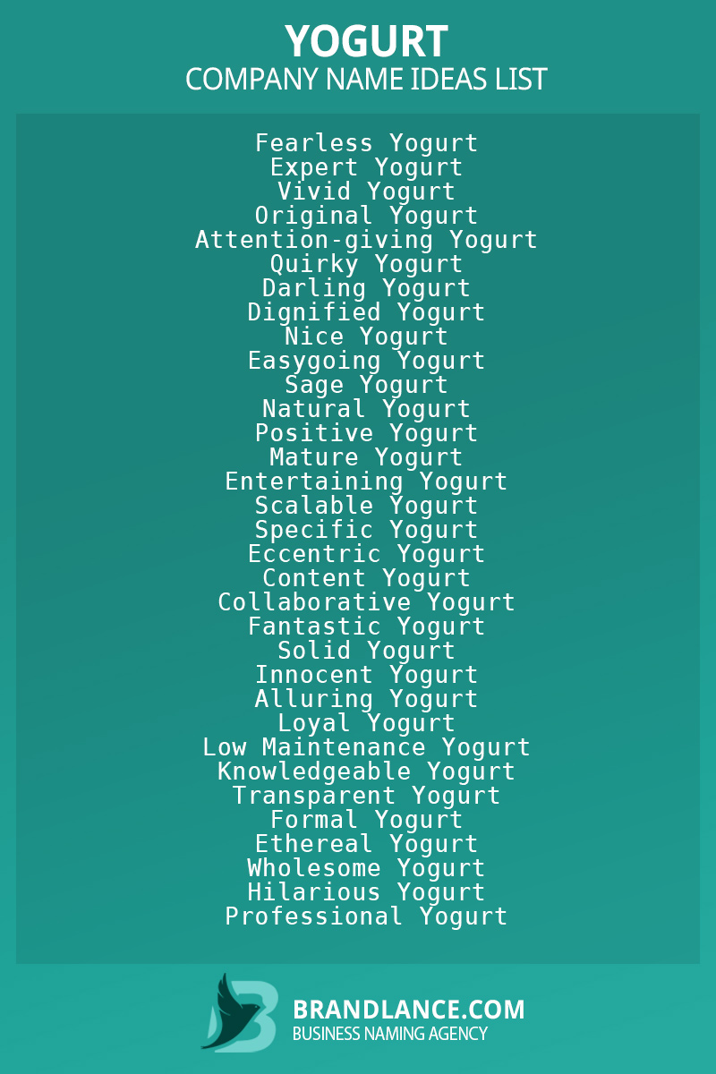 Yogurt business naming suggestions from Brandlance naming experts